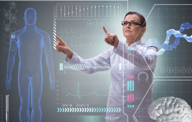 a doctor is touching the screen with body and brain image | The Future of Telemedicine in 2020 and Beyond | More Reliable Data
