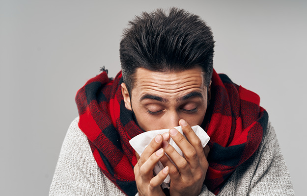 a sick man in thick clothes covering a cough - SS | Productive vs. Nonproductive Cough | Common Causes I Productive Cough